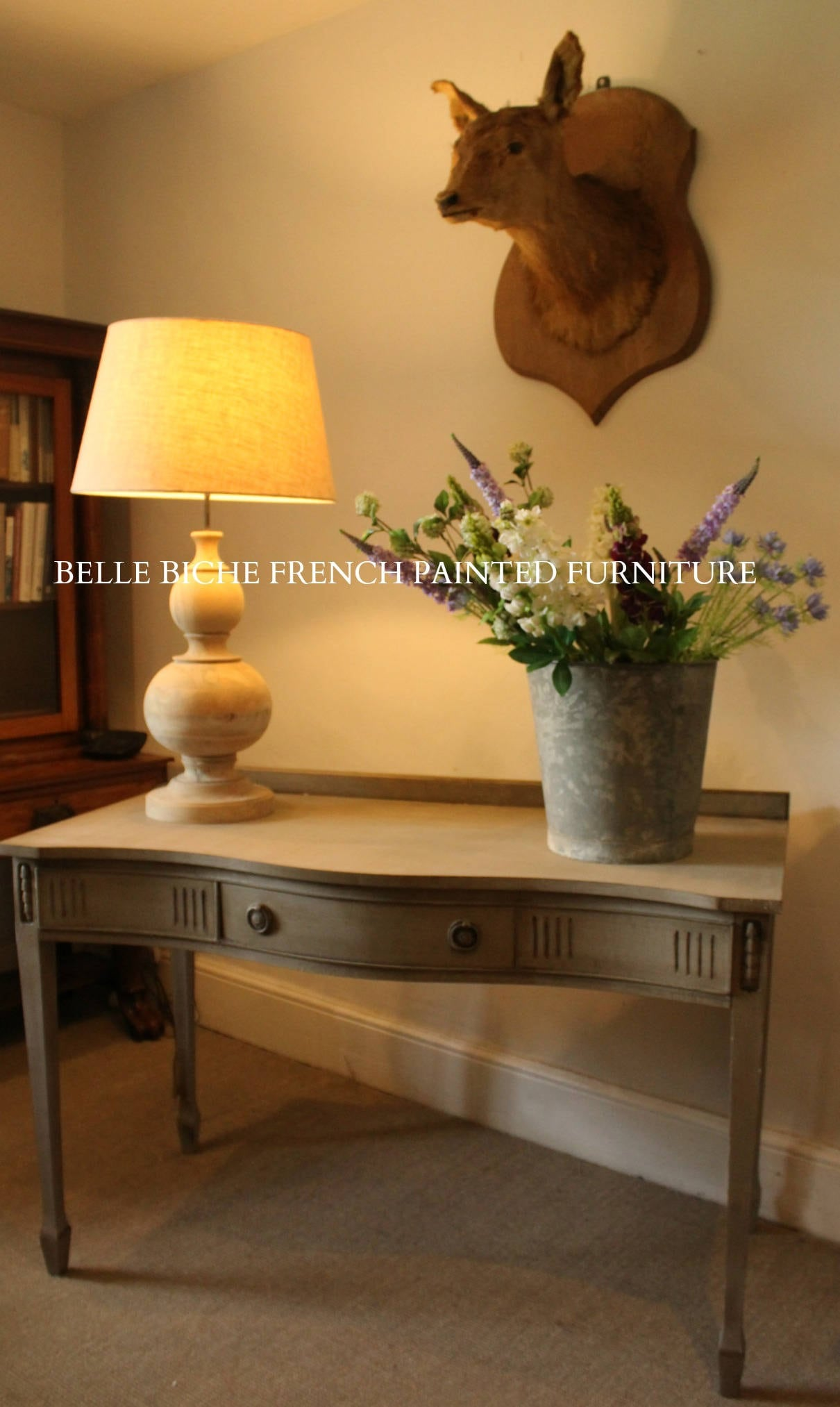Splendid George III Style Serpentine Library Table  Writing Desk   Finished in Gustavian Style