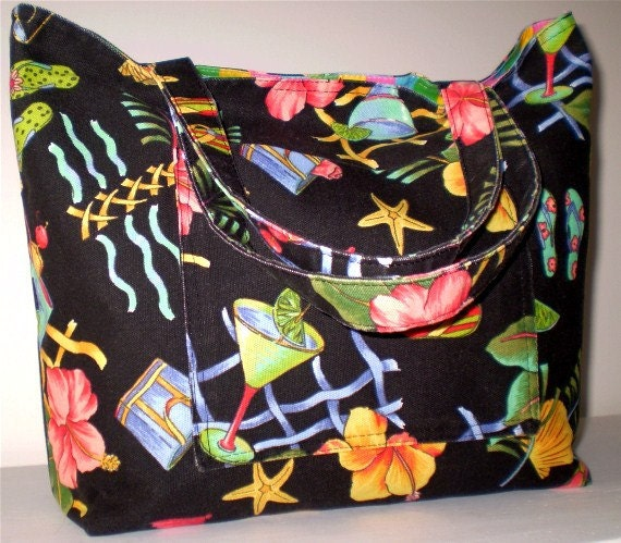 End of Summer Sale: Large Beach Bag/Tote Bag flip flops and martinis pattern. Cheers.... - emmabags