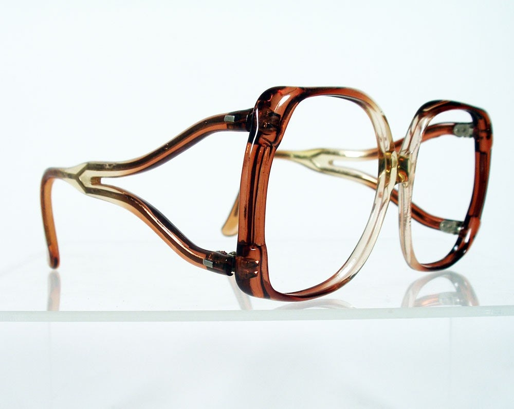 Eyeglass Frames Square : Large Square Brown Fade Disco Era Eyeglass Frames by Chigal