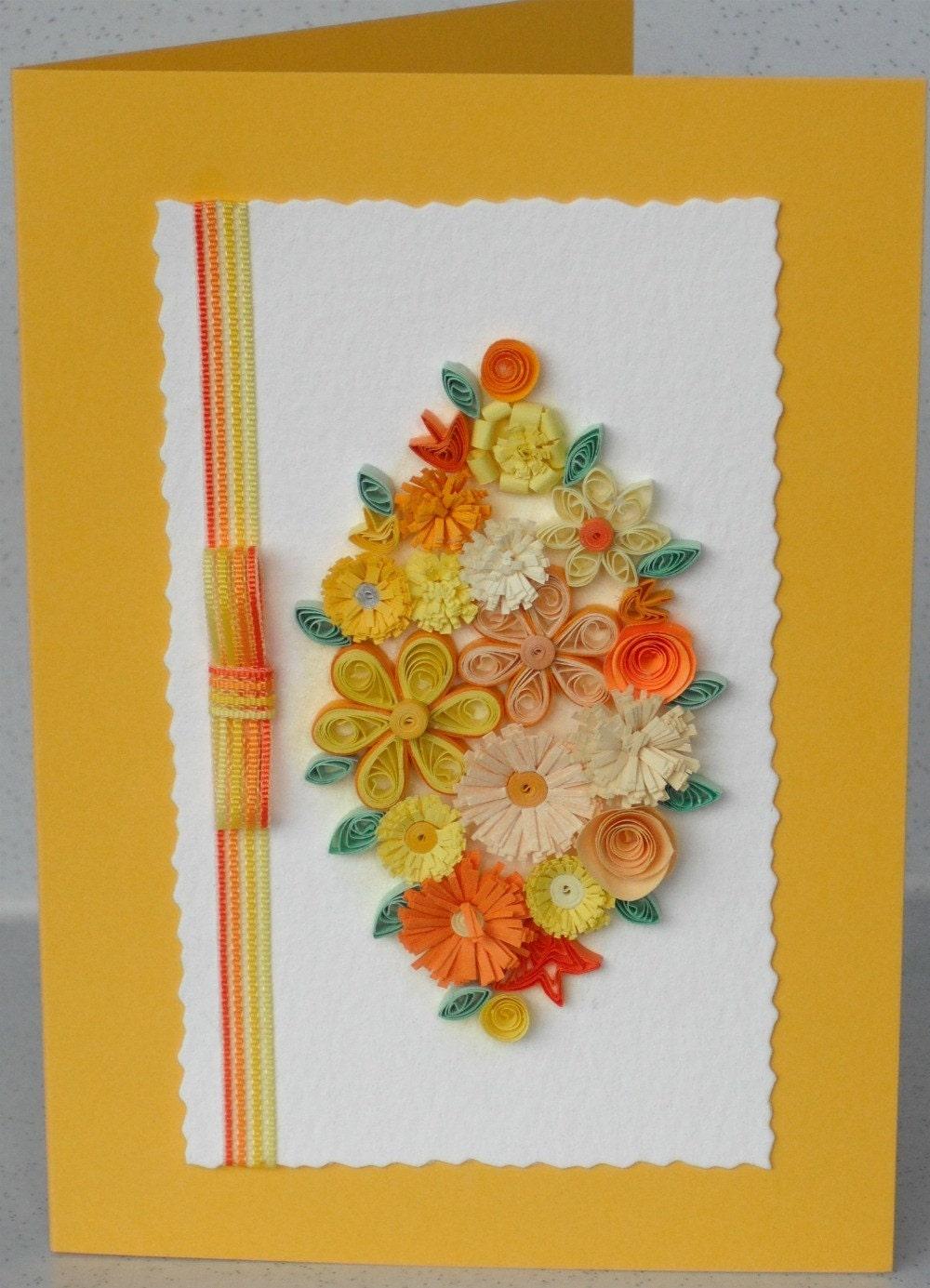 Гофрированный ручной работы карты, бумага рюш цветы, по любому поводу