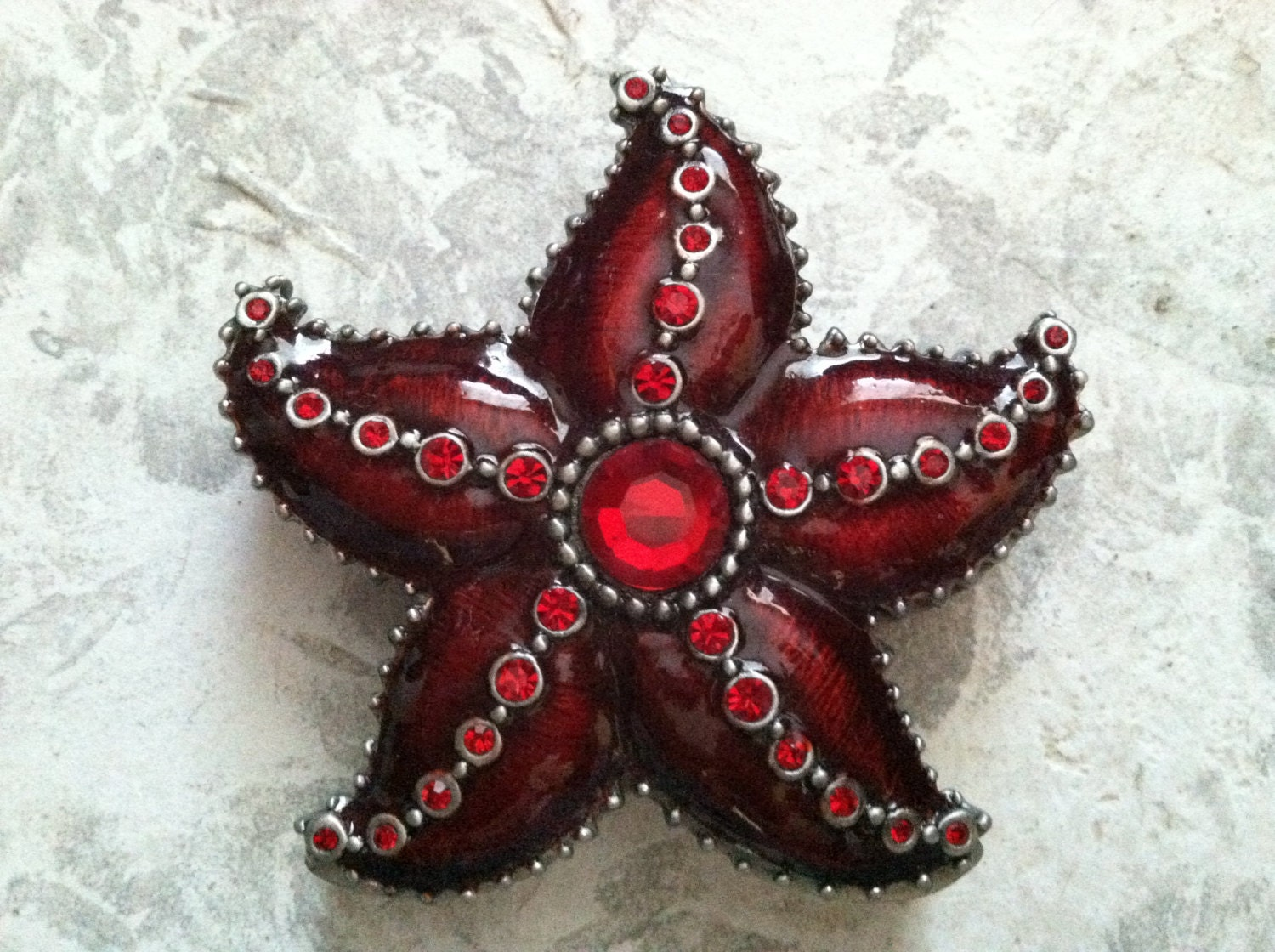 Vintage Red Rhinestone Star Jewelry Box - 4evrVintage