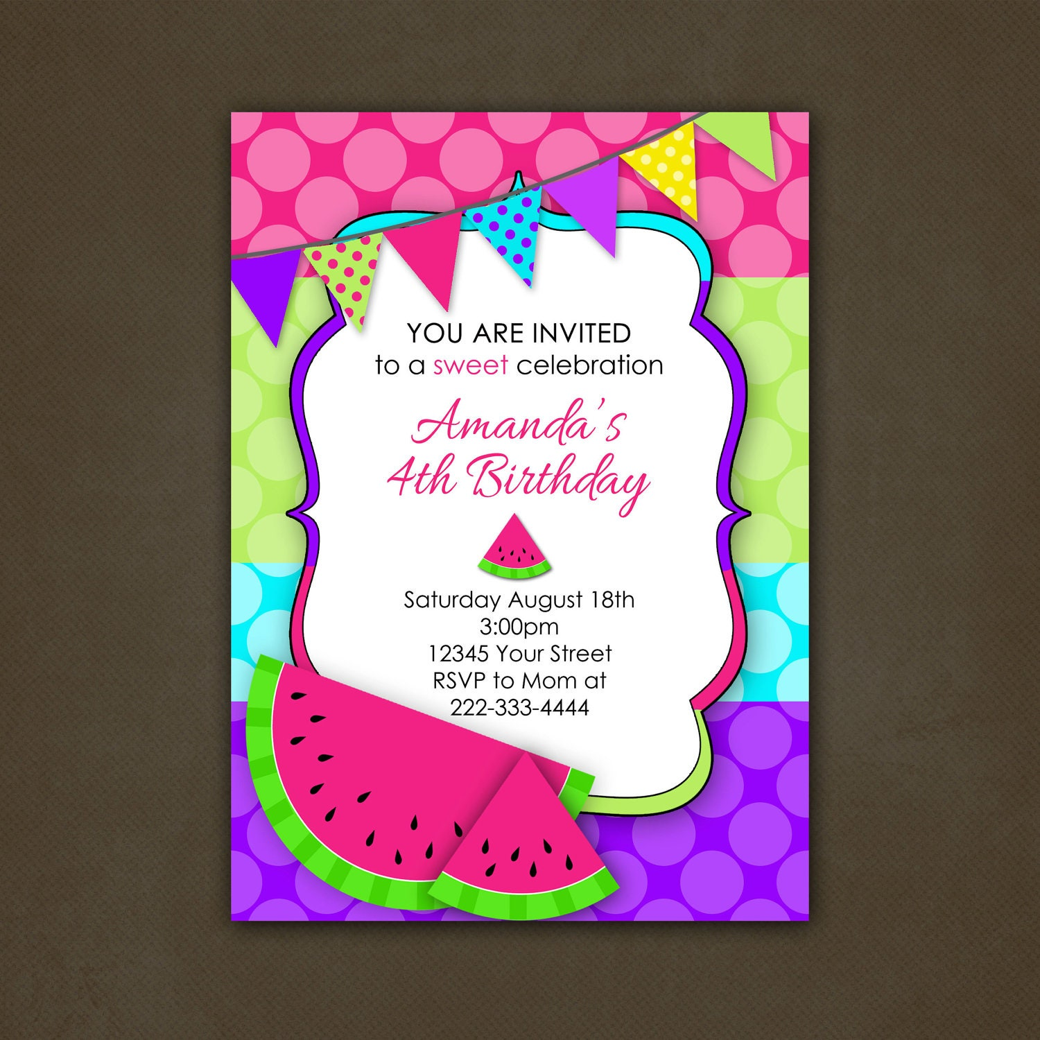 Watermelon Birthday Invitations could be nice ideas for your invitation template