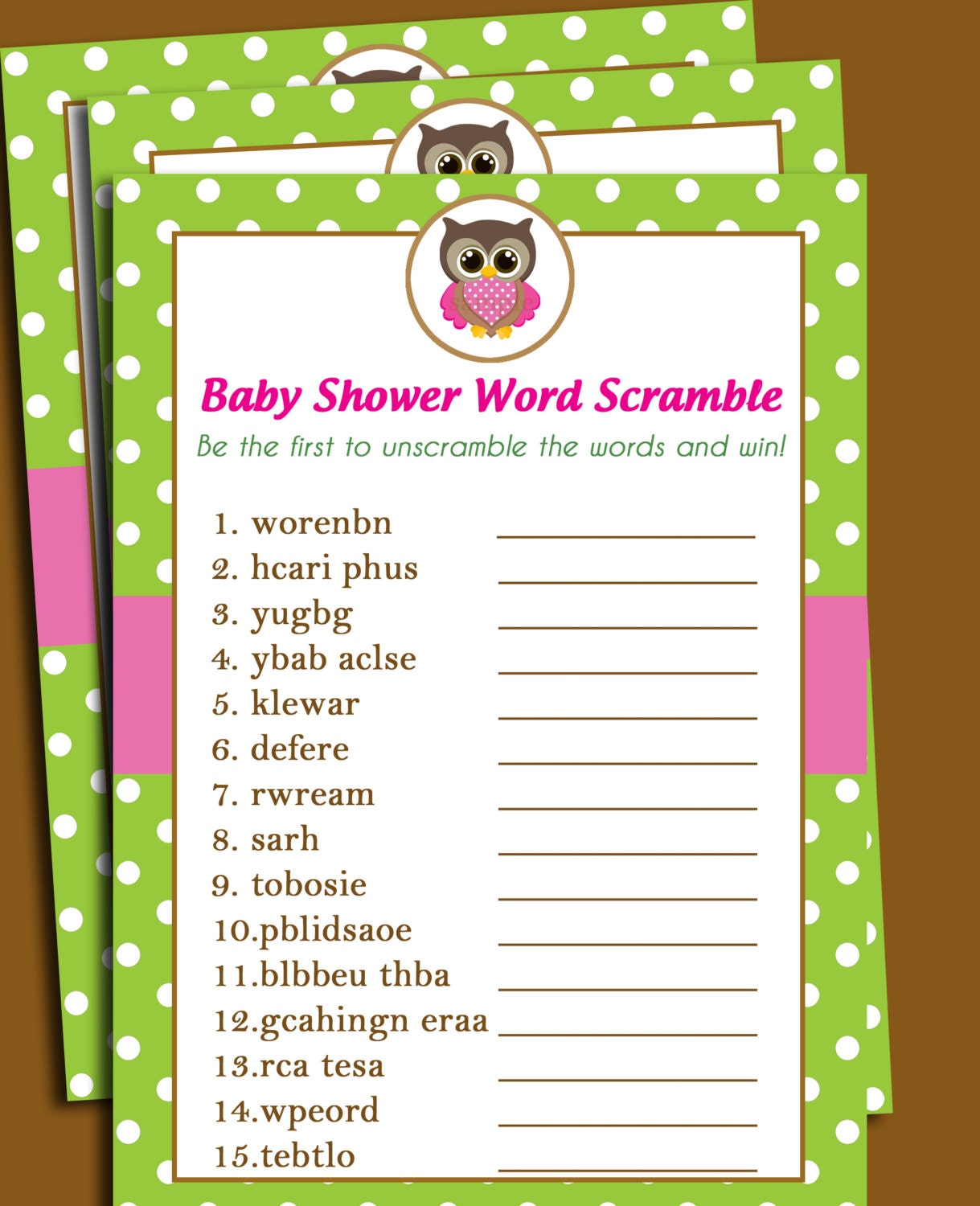 Owl Baby Shower Word Scramble Printable - Lil' Owl Collection - Girl ...