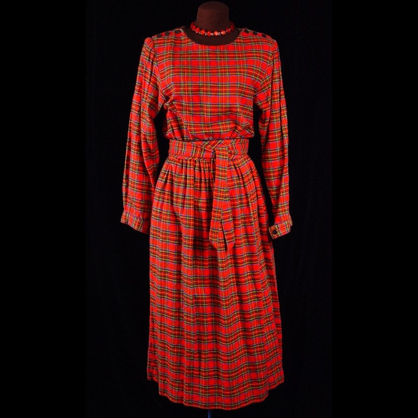 Vintage Lanz Originals Womens Red Tartan Plaid Dress Cotton Flannel Midi Length Bust 36