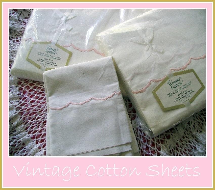 Vintage Wamsutta Crisp White Cotton Sheets By