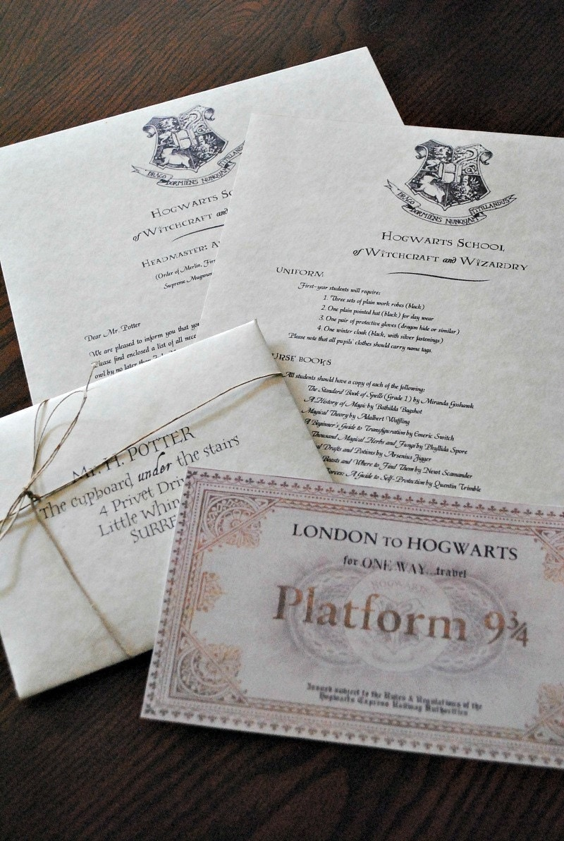 Personalized Harry Potter Hogwarts Acceptance Letter (Includes FREE ...