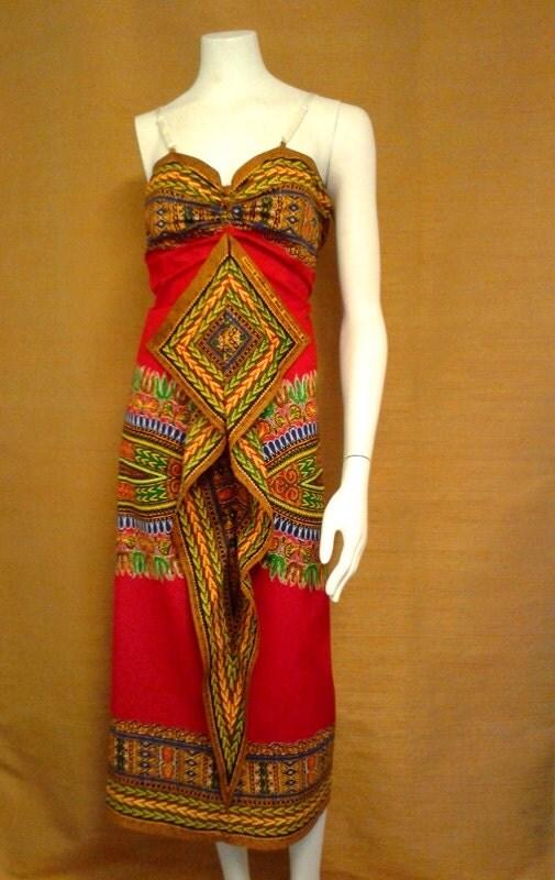 Reduced for Clearance  April Red Angelina Dashiki African Wax Print Sun Dress Midi Dress Cotton Dress