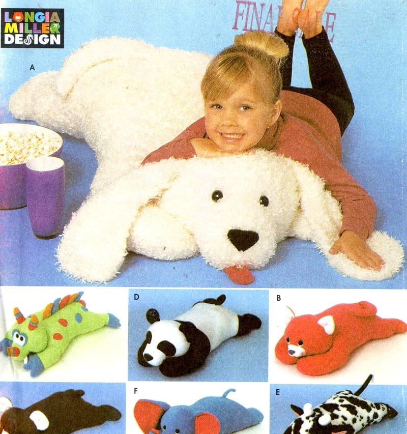 90s Animal Pillows Stuffed Animal Toy Stuffie Sewing By
