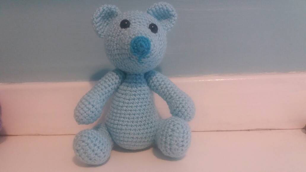 Teddy bear blue stuffie crocheted amigurumi soft toy CE tested CE marked jointed