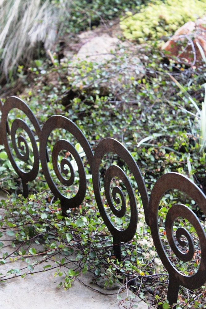Landscape Edging Metal Stakes : Spiral garden stake steel decor planter by