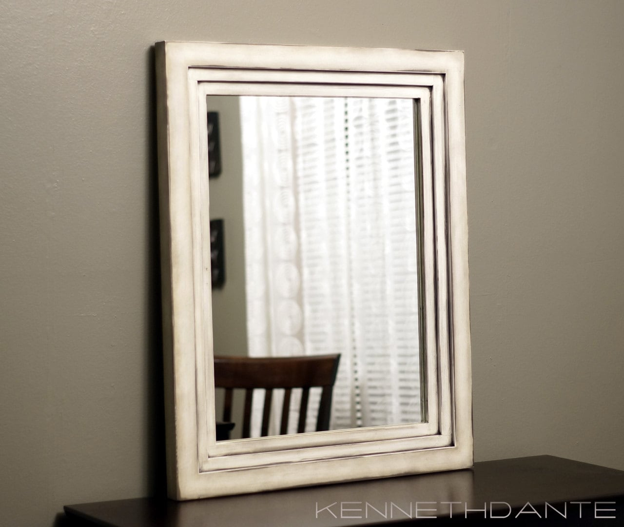 Antiqued White Mirror Distressed Chic Decorative by