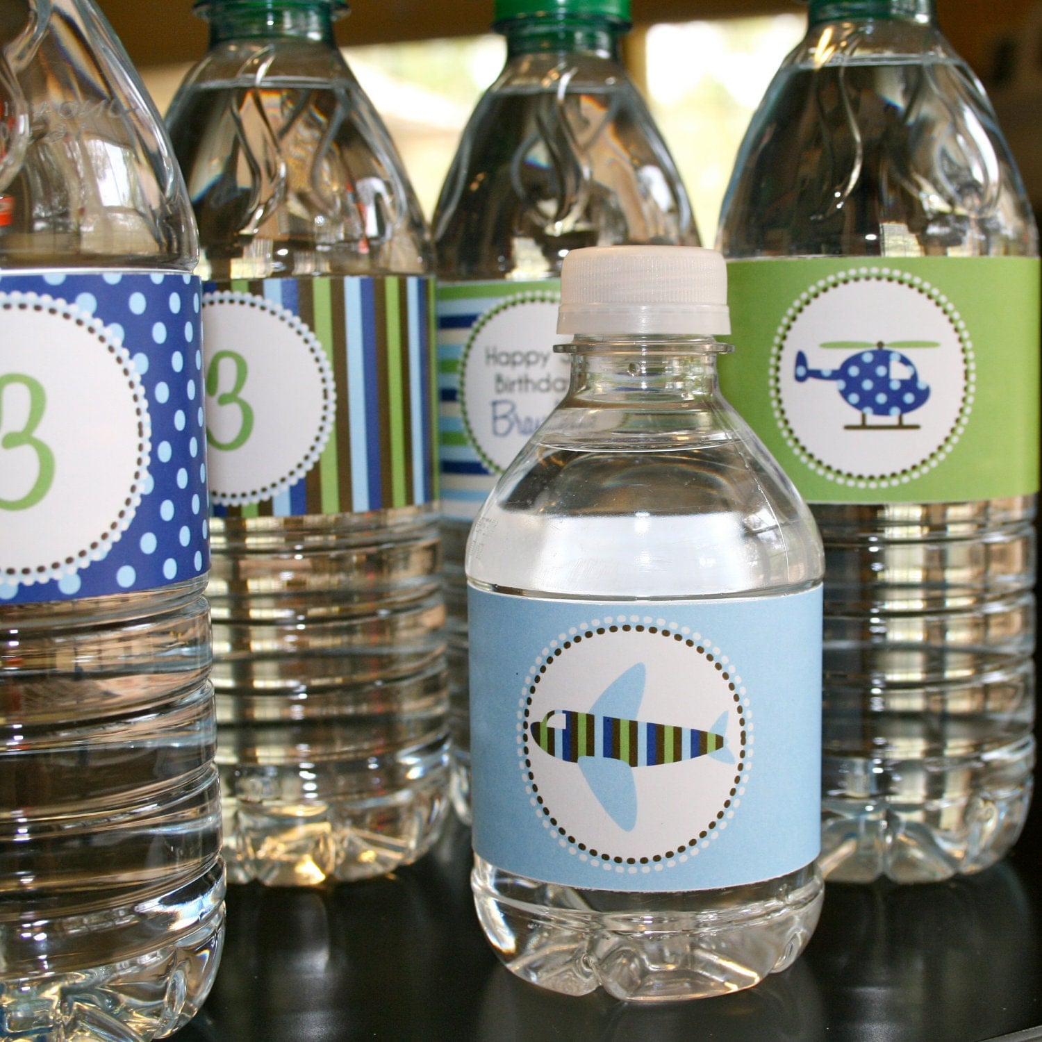 Airplane and Helicopter Party- water bottle wrappers- print your own