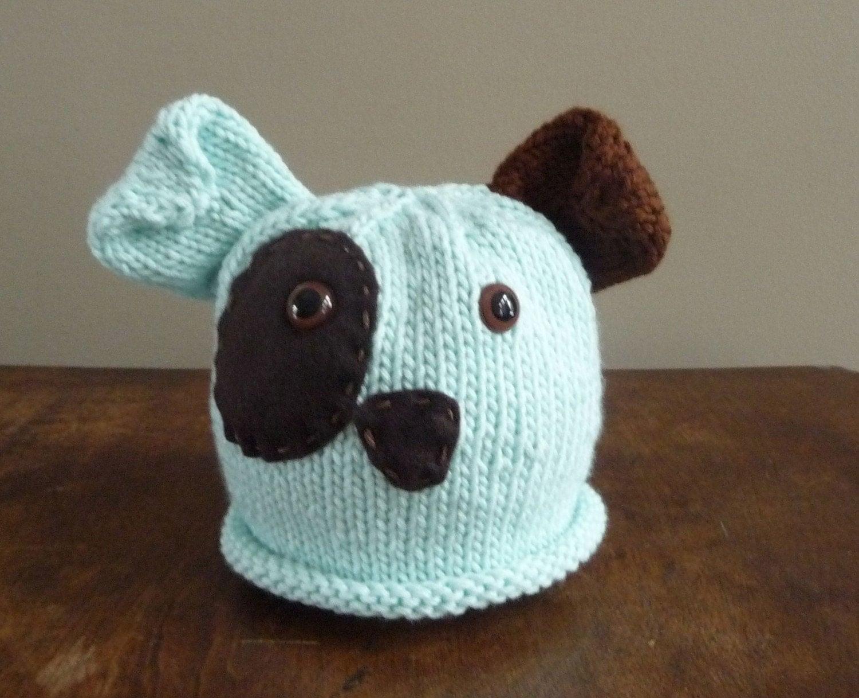 NEW Hand Knit Infant Puppy Dog Hat Photo Prop by sassafrass2