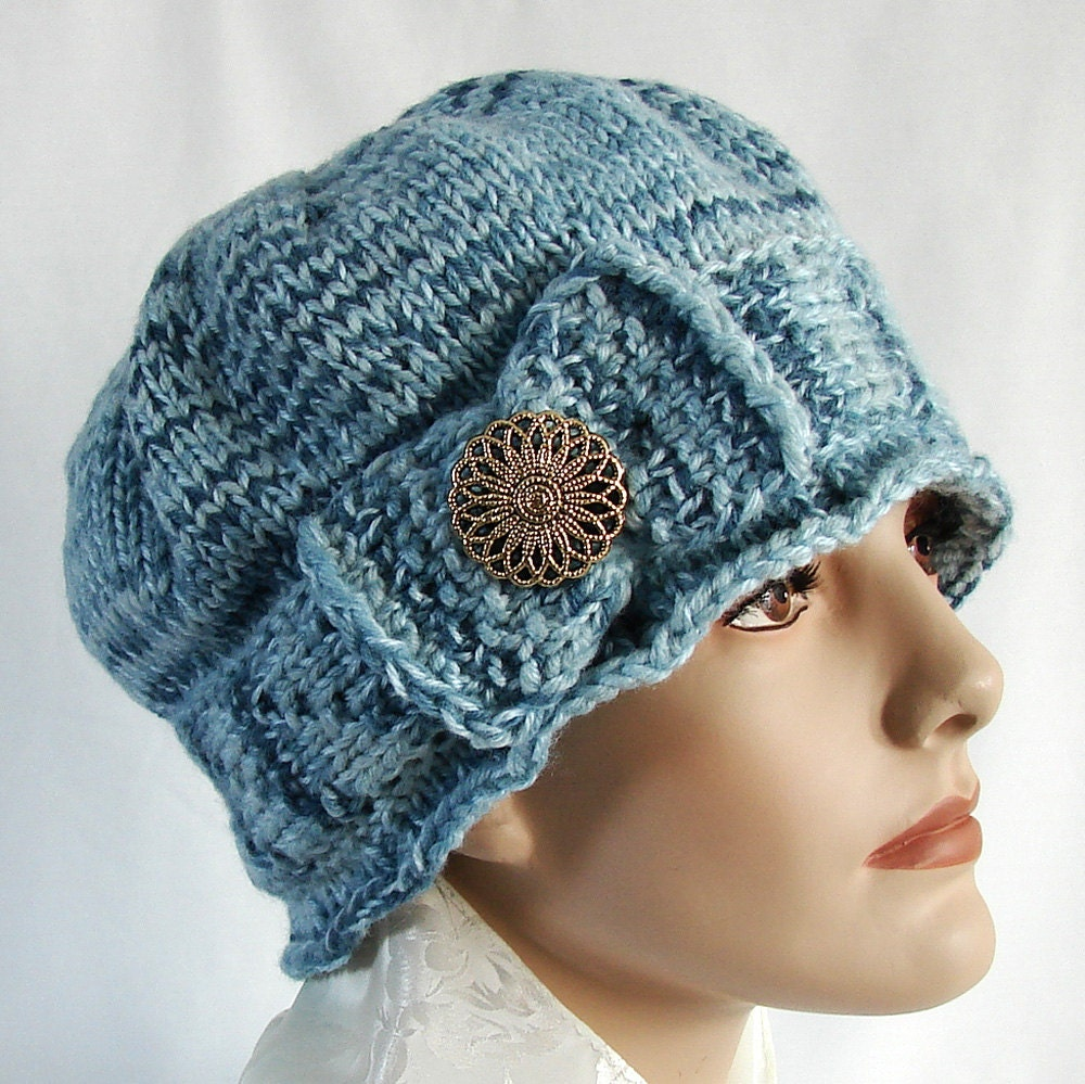 Blue Knit Cloche Hat 1920s Style Knit Hat Hand Knit by jolay