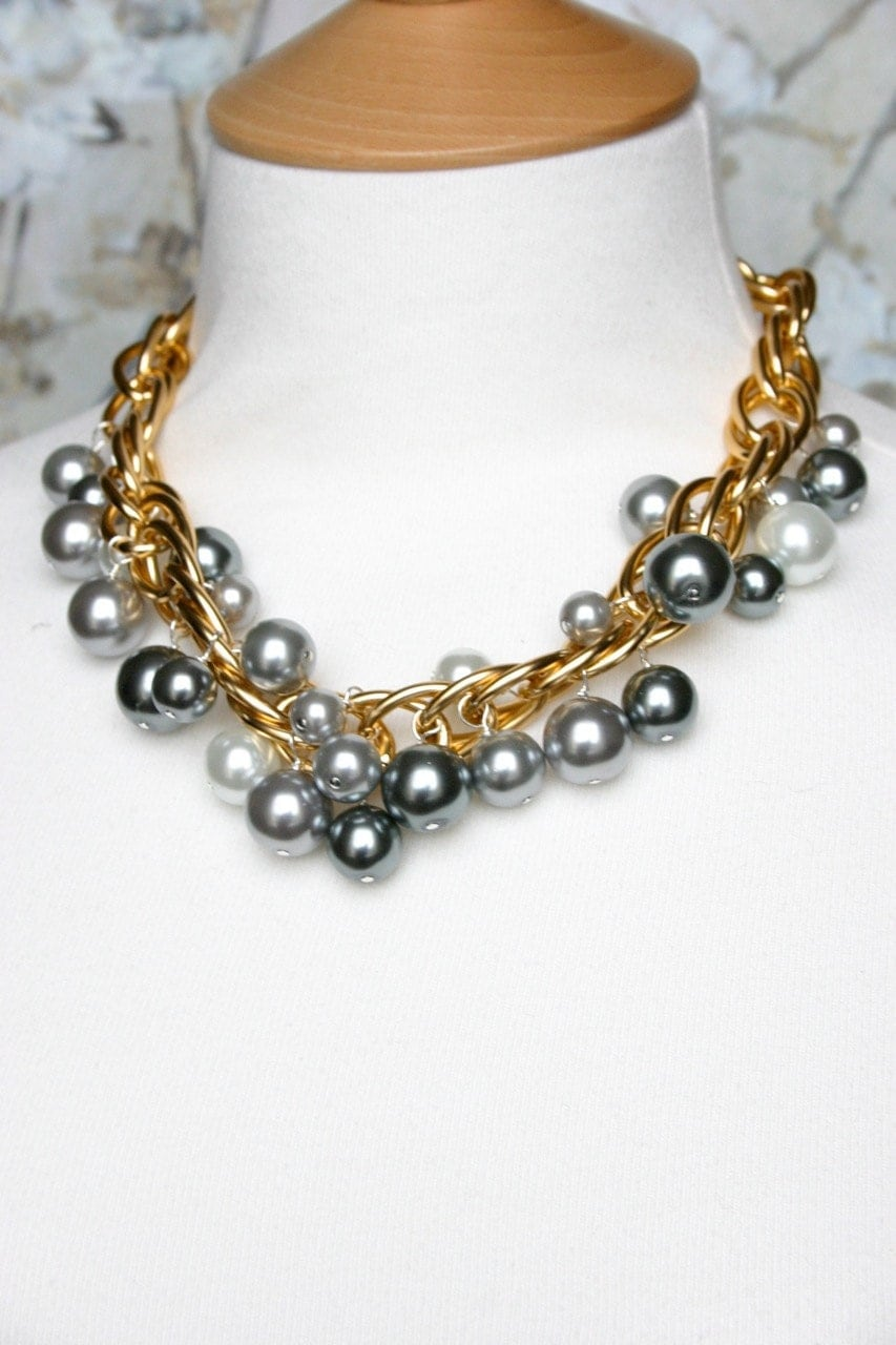 items similar to mixed metal necklace chunky necklace