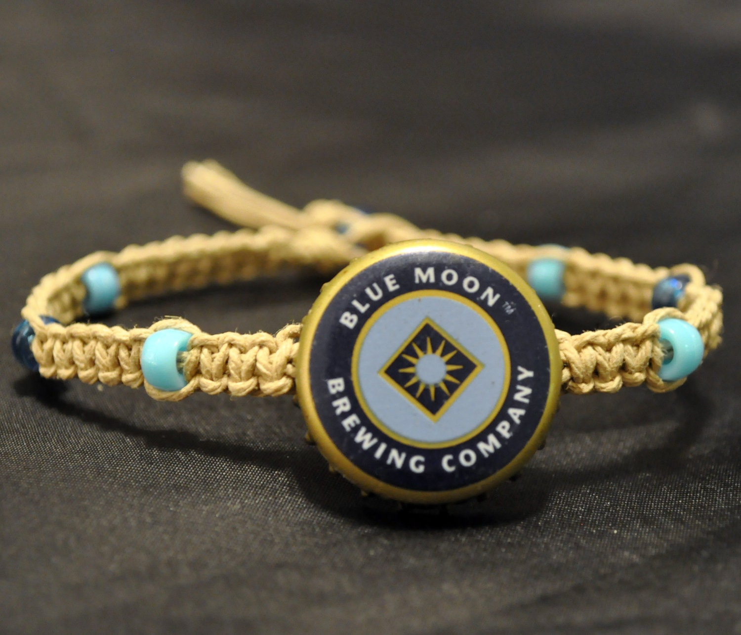 Blue moon beer recycled bottle cap hemp anklet by for Beer cap jewelry