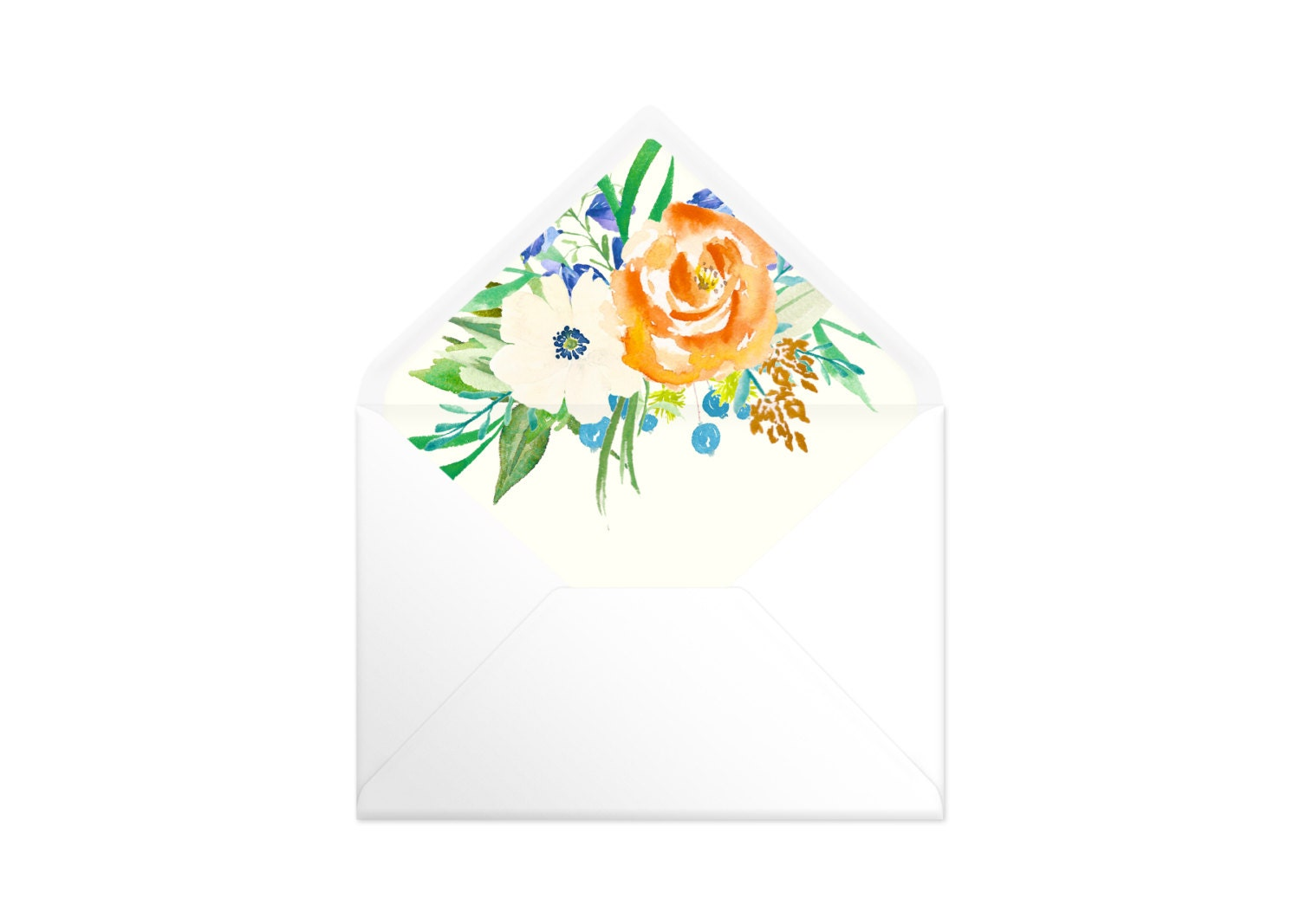 Printable Envelope Liner  Cream Background With Orange And Blue Flowers. 9 Sizes. Envelope Template DIY Wedding Printable Invitation