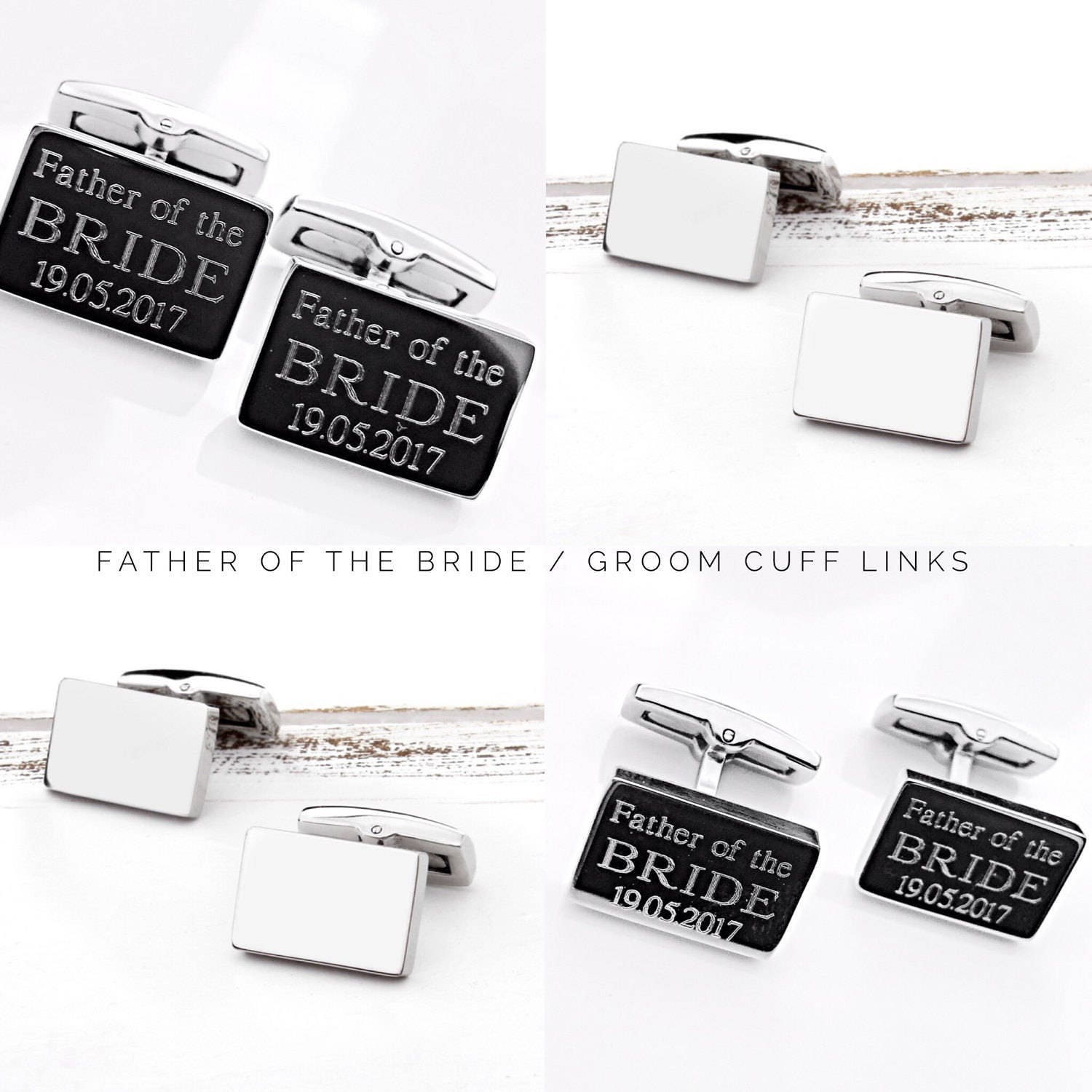 Father of the Bride  Father of the Groom Cufflinks (silver) Mens Gifts  Personalized Cufflinks Mens cufflinks Gift Ideas for Men (W272)