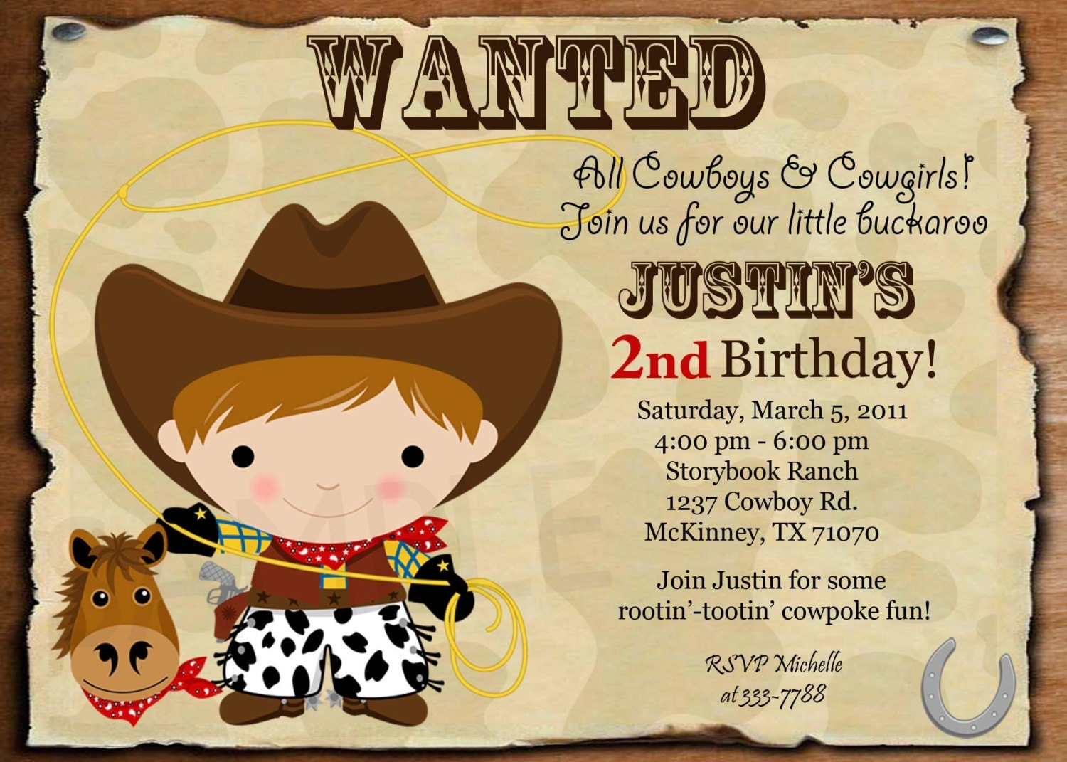 Cowboy Party Invitations and get inspiration to create nice invitation ideas