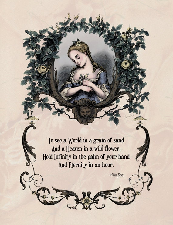 "Blake - Victorian Art Poetry Print - ""To See a World in a Grain of Sand"" Poem - Dreamy 19th Century Illustration"