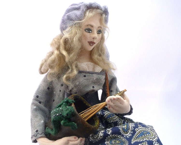 Art doll OOAK cloth witch soft sculpture CONJURER