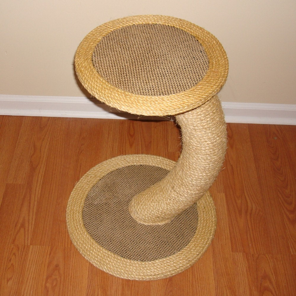 Modern curved sisal cat scratching post cat tree by for Curved cat scratcher