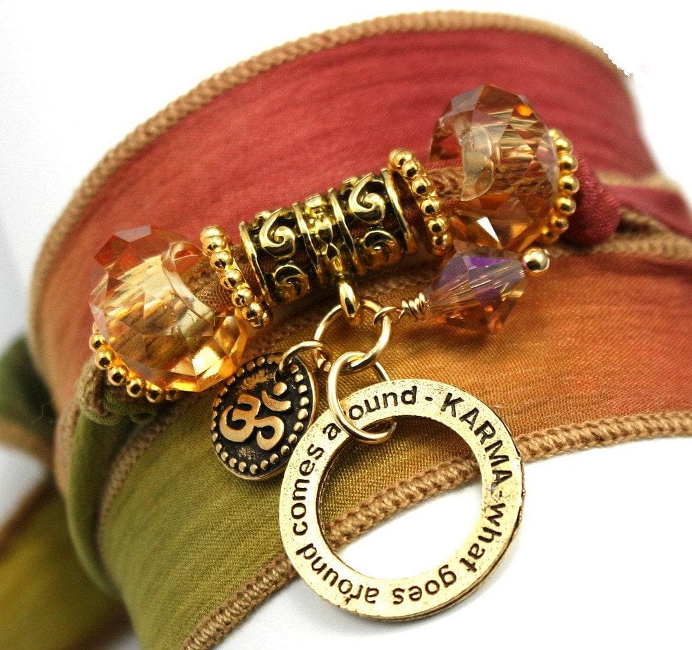 Autumn Leaves Silk Wrap Yoga Bracelet with Karma Ring and Mini Om Disc - anjalicreations