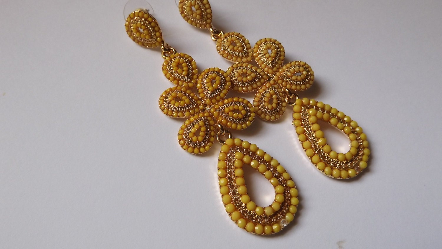 Sale 35% OFF Yellow Earrings and Gold Tone Stunning Chandelier earrings WAS 55.00 NOW 35.75