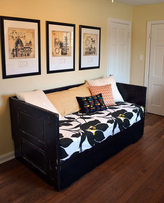 painted black salvaged doors daybed upcycled shabby by. Black Bedroom Furniture Sets. Home Design Ideas