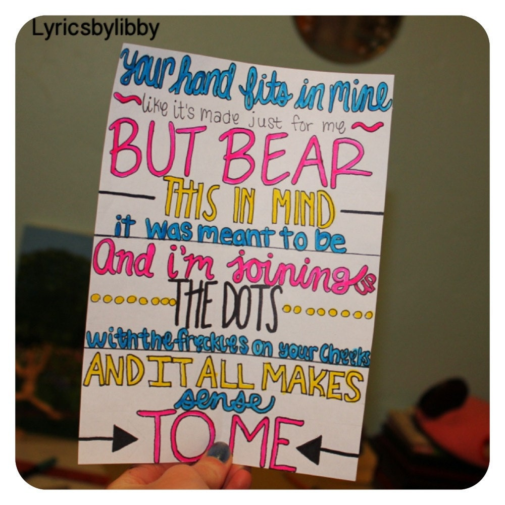 Items similar to Little Things Lyric Drawing on Etsy