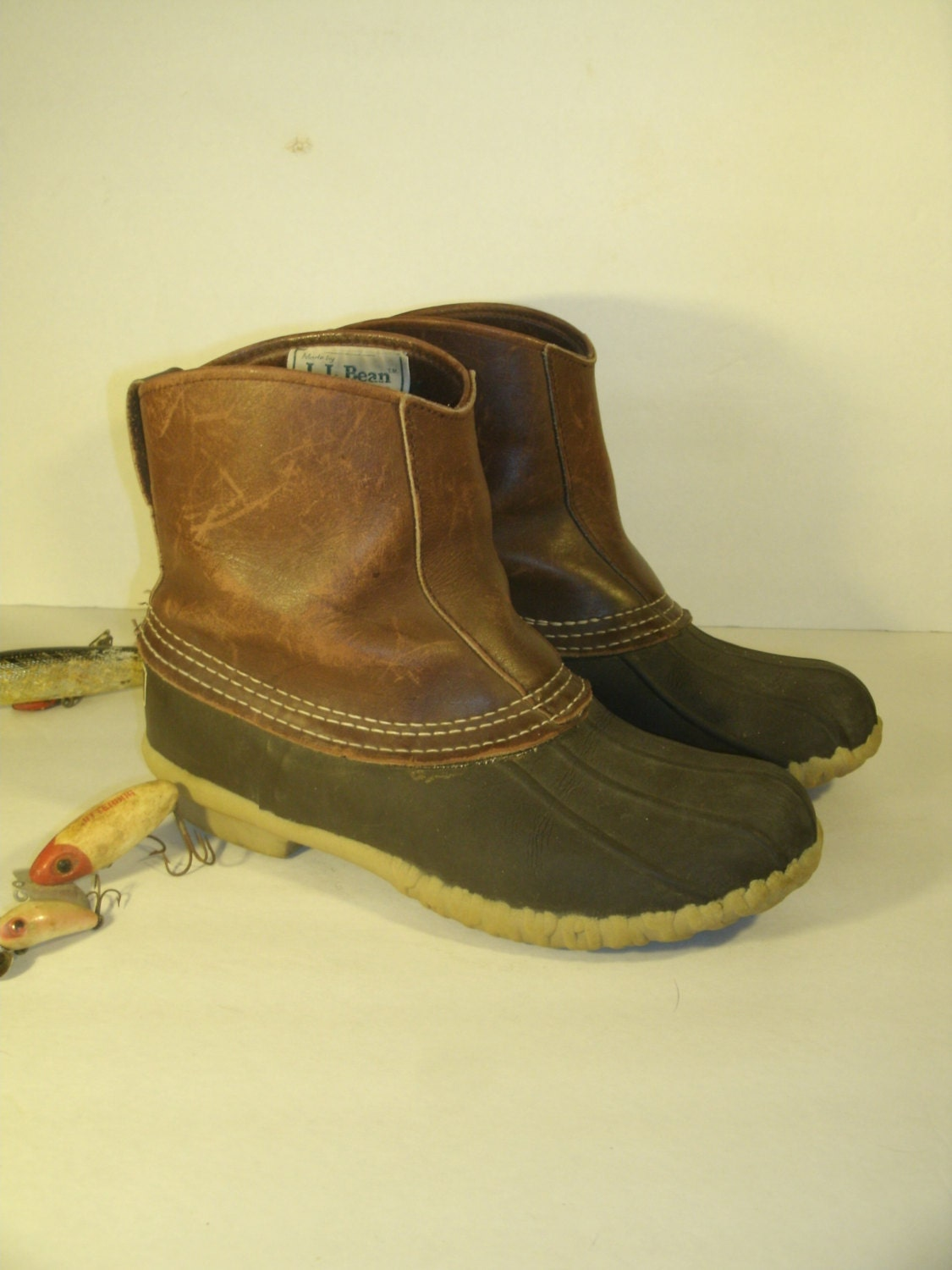 Vintage LL Bean Slip On Maine Hunting Shoe Duck Boots Dark Brown