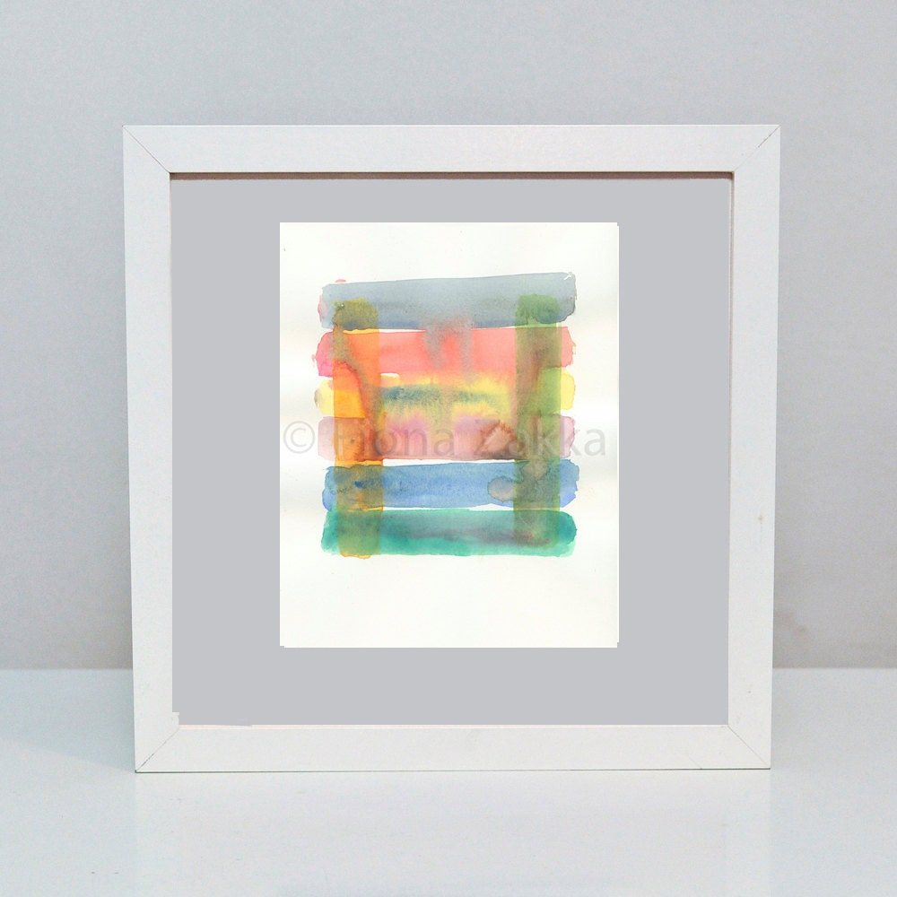 "Modern Art Original Abstract Watercolor Multi Colored Blue Orange Green Yellow Red Rainbow Art 11 x 12cm/ 4.33 x 4.72"" design size - fionazakka"
