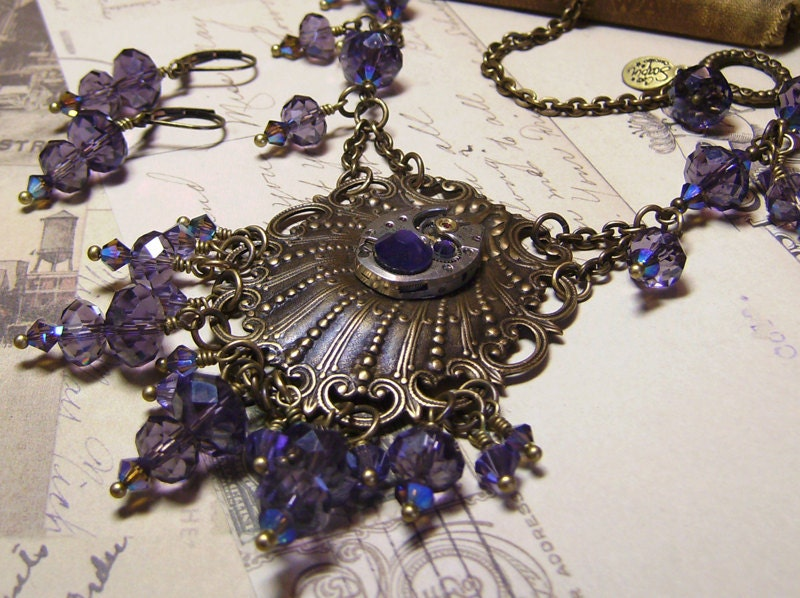 Victorian Steampunk Tanzanite Swarovski Watch Movement Art Necklace Set -Coco Scapin Designs Chicago - CocoScapin