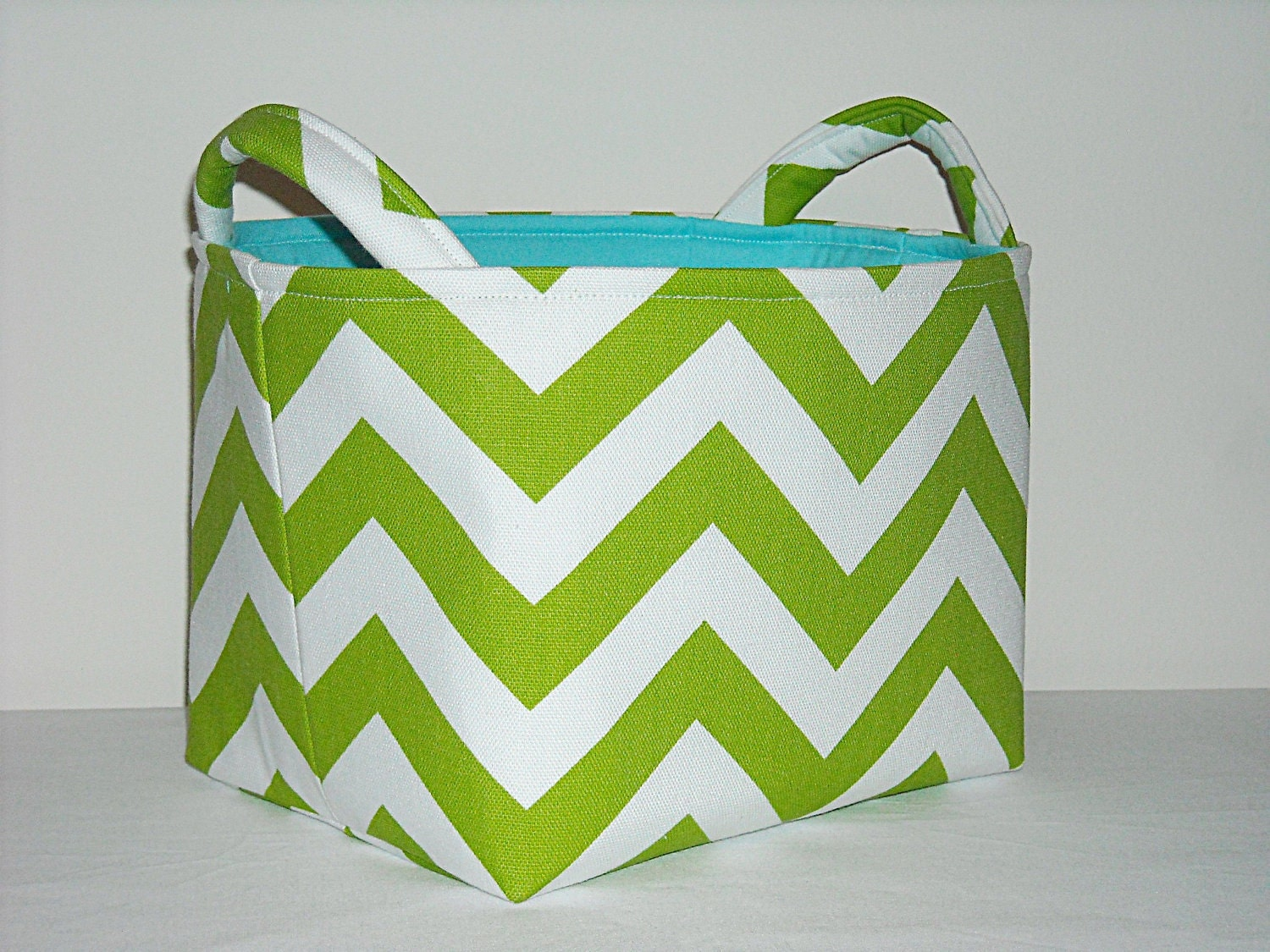 Fabric Basket Organizer Bin -Chartreuse and White Chevron - NeedleNookCreations