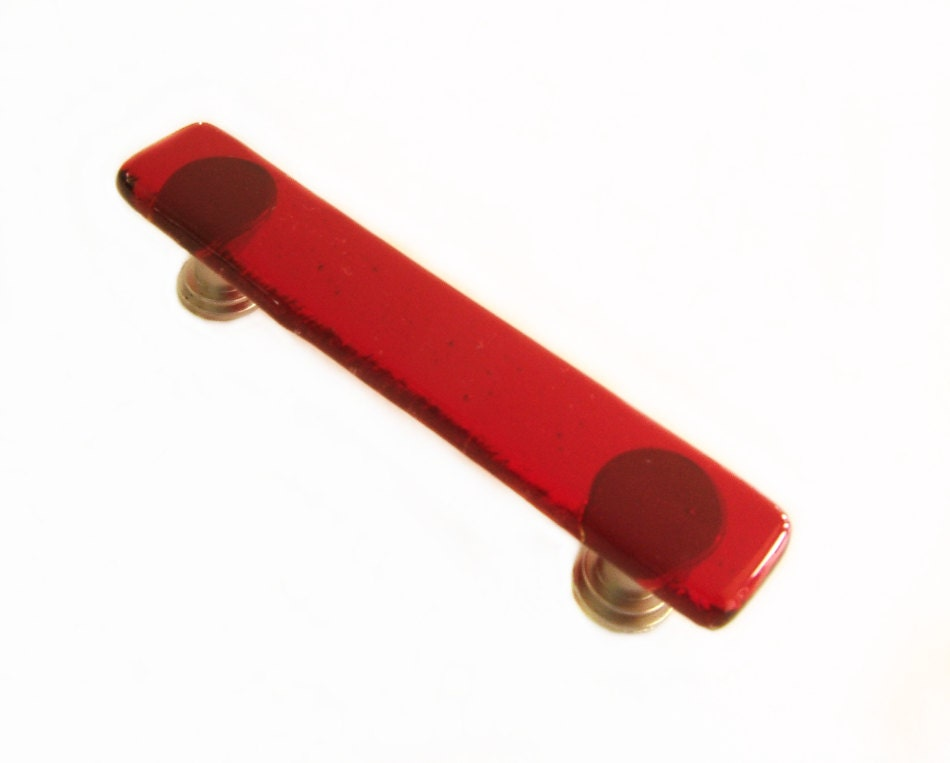 Red Glass Cabinet Handle Or Drawer Pull By Uneekglassfusions