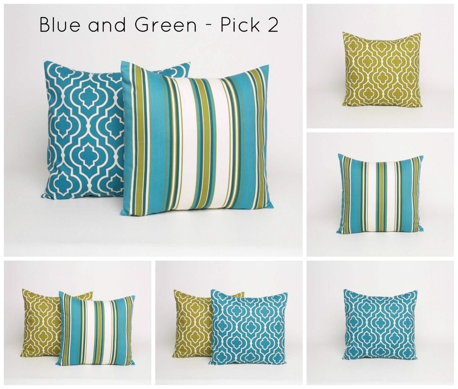 Olive Green And Blue Throw Pillows : Set of 2 Green and Blue Throw Pillow PAIR by DimensionsHomeDecor