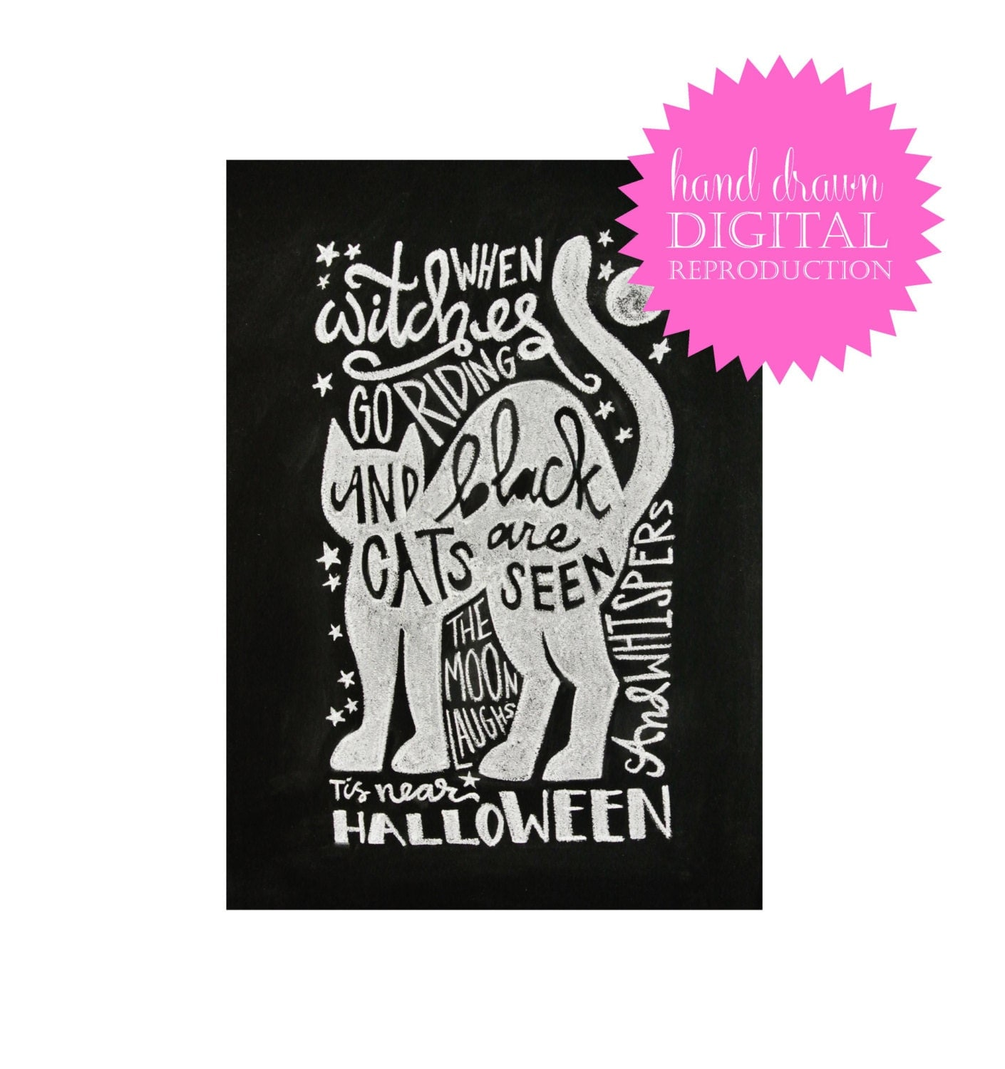 Chalkboard Print - Digital File 8x10 - Halloween Printable