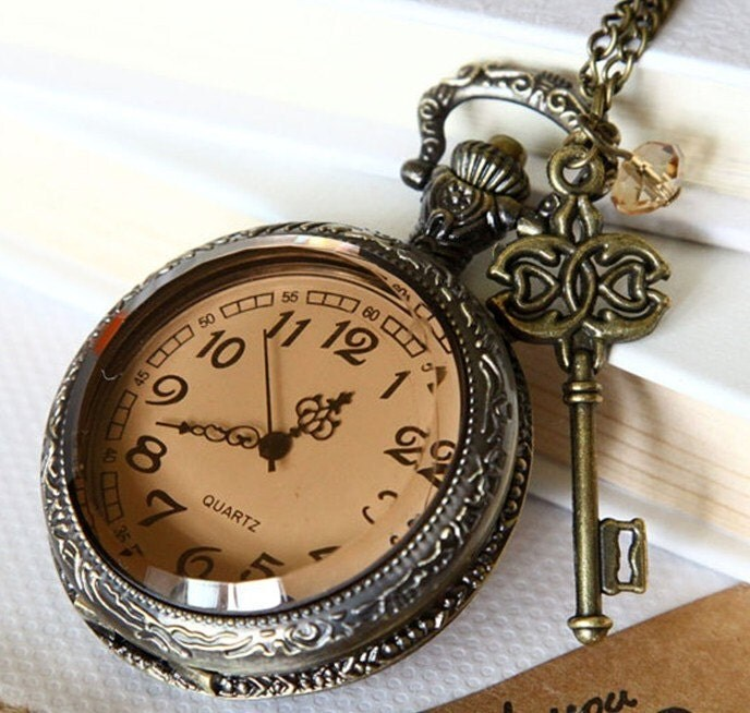 big size transparent Pocket watch Locket Necklace, royal key