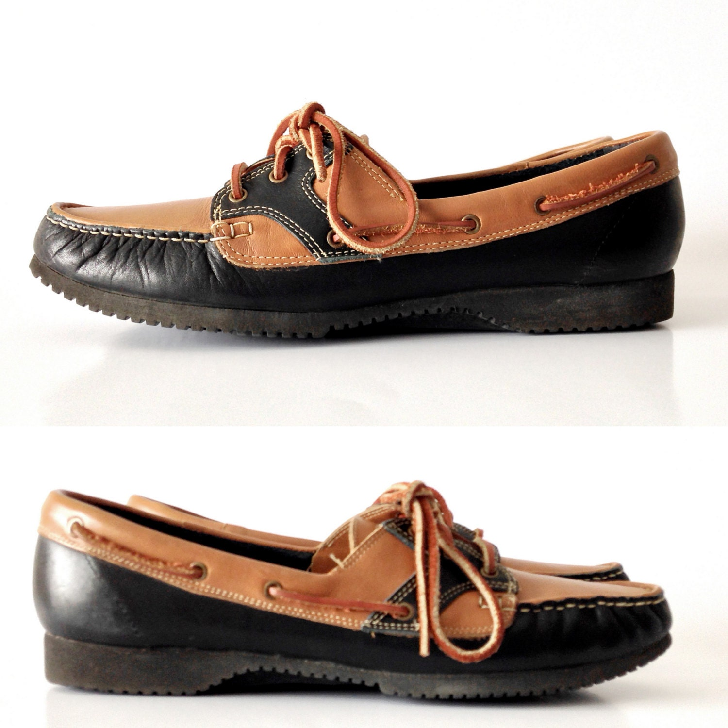vintage leather deck shoes two tone brown by