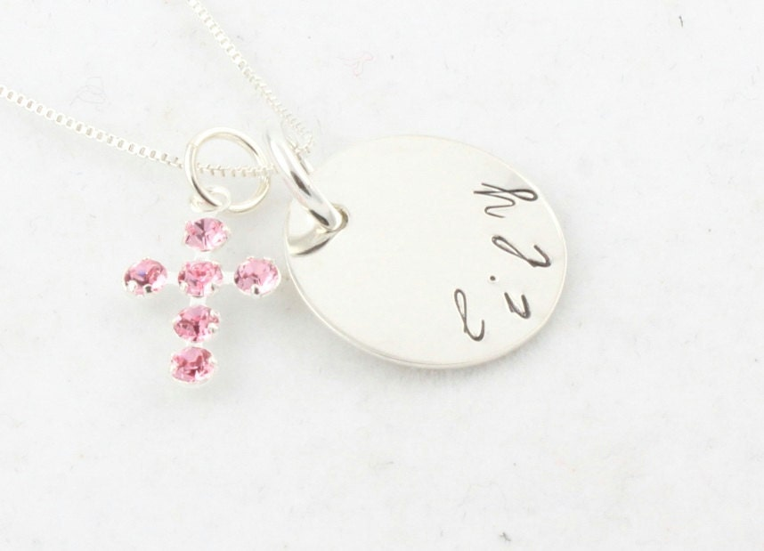 First Communion Pink Cross Sterling Silver Necklace - TheSilverDiva