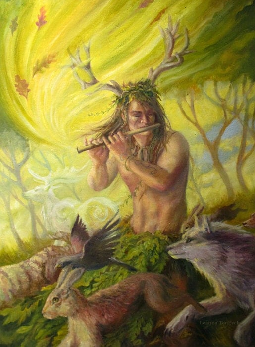 Cernunnos nature god 5x7 original art celtic pagan by Goddess of nature greek