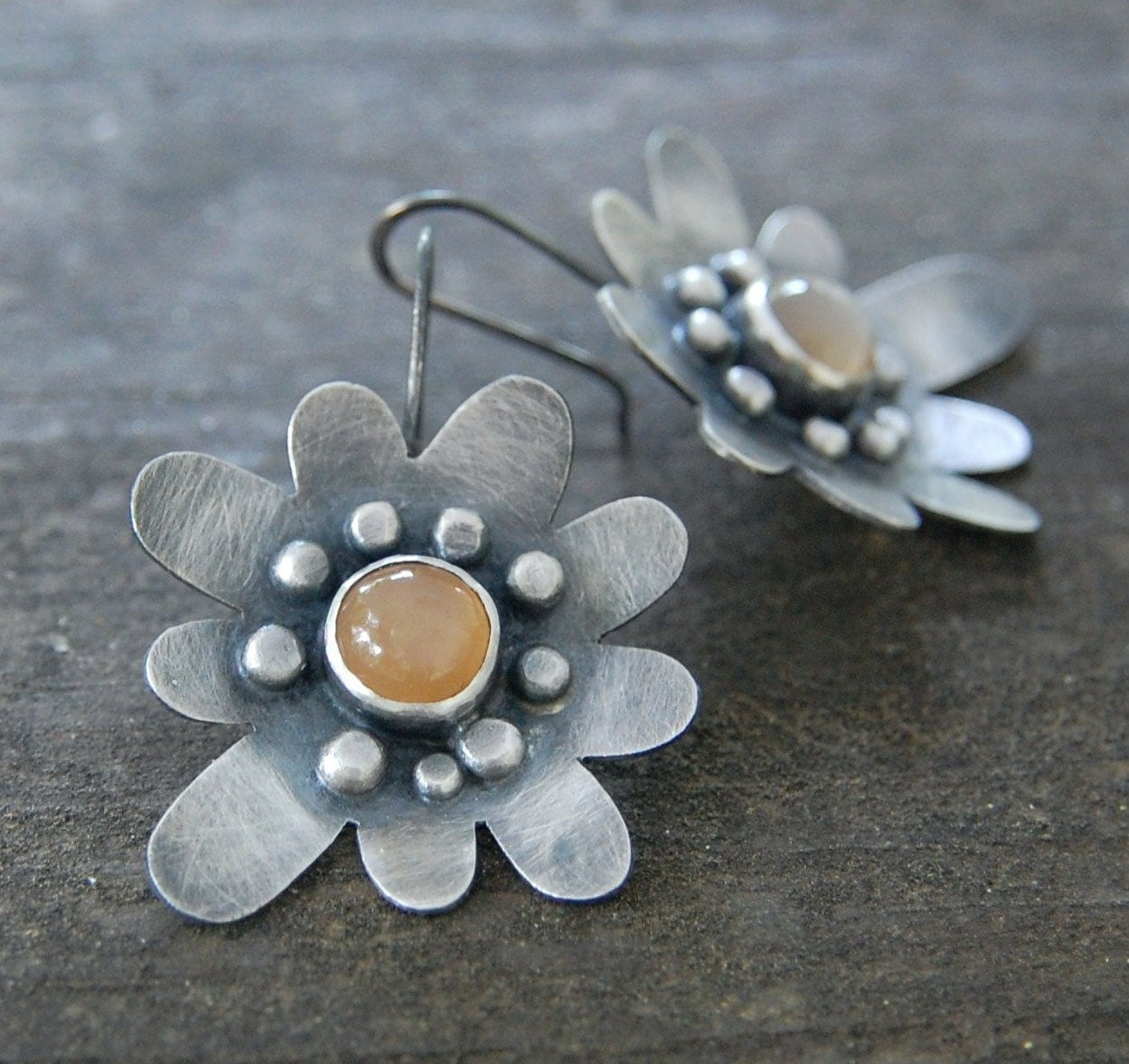 dahlia earrings - sterling silver and peach moonstone - wildflowerdesigns