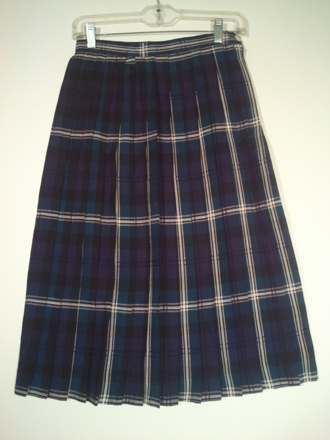 blue green plaid skirt pleated skirt by