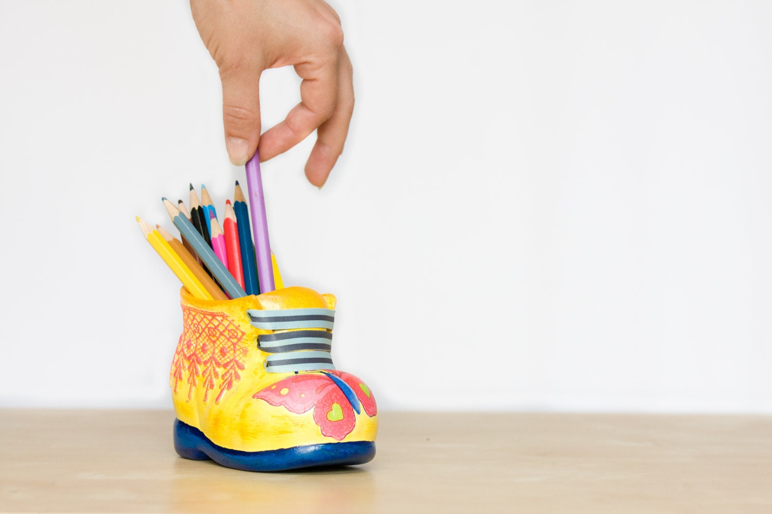Ceramic Pencil Holder, Colorful Boot Pencil Holder, Yellow Shoe with Pink Butterfly and Lace Desk Accessory, Kids Children oht - BeauMiracle