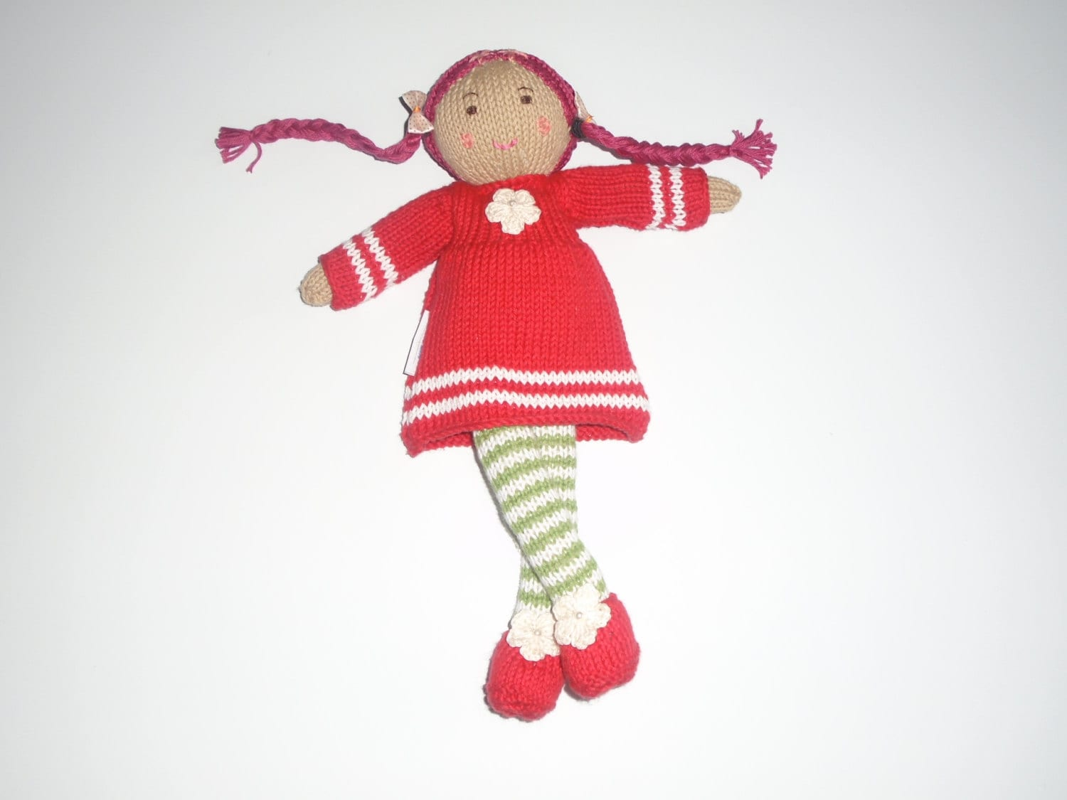 Penelope the Hand Knitted Cotton Dressed Up Doll Soft Toy  READY TO SHIP!