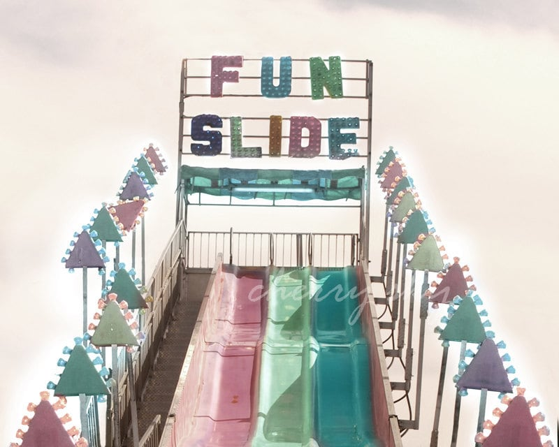 Fun Slide - Carnival Amusement Park Ride Colorful Pastel Vintage Nostalgia Summer Memories Nursery Decor Kids Wall Art 8x10 Photo - cherryskyphoto