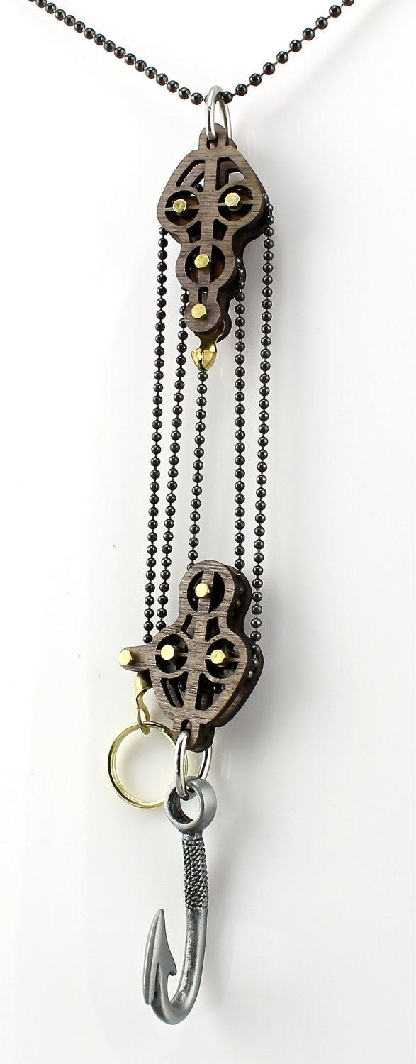 Block And Tackle System Of Pulleys : Block and tackle pulley hook pendent by greentreejewelry