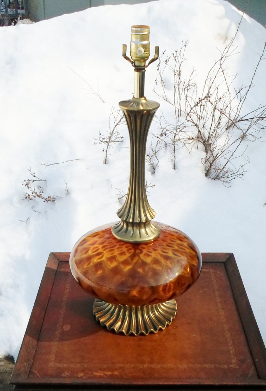 vintage orange amber glass table lamp blown by. Black Bedroom Furniture Sets. Home Design Ideas