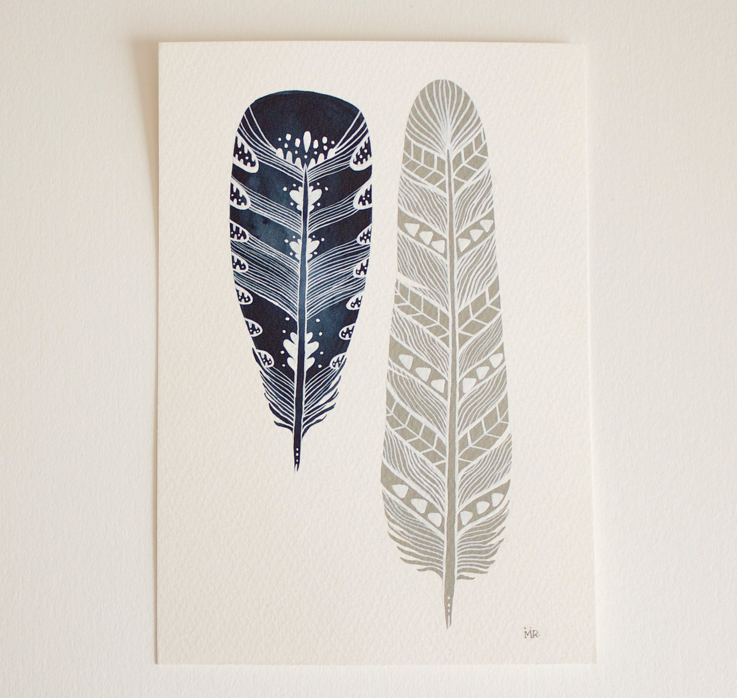 Feather Art Painting - Watercolor Art - Archival Print Mila Feathers - RiverLuna - RiverLuna