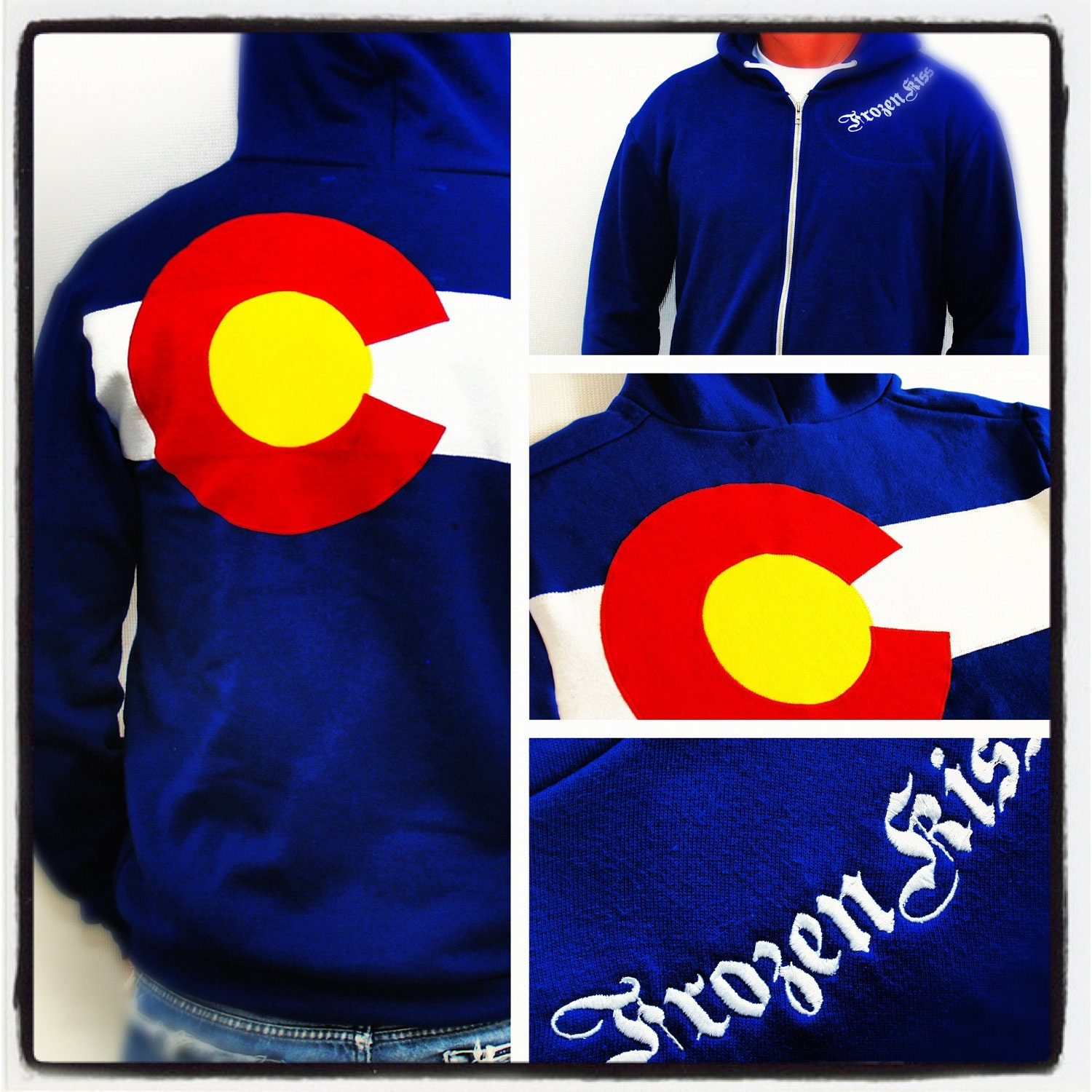 Colorado Flag custom Hoodie  3 layer sewn flag zippered sweatshirt